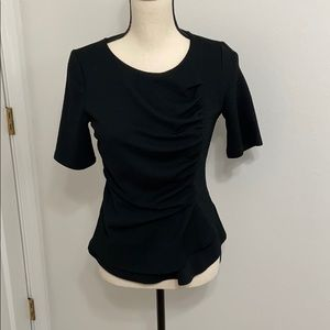 Deletta black top with front draped detail